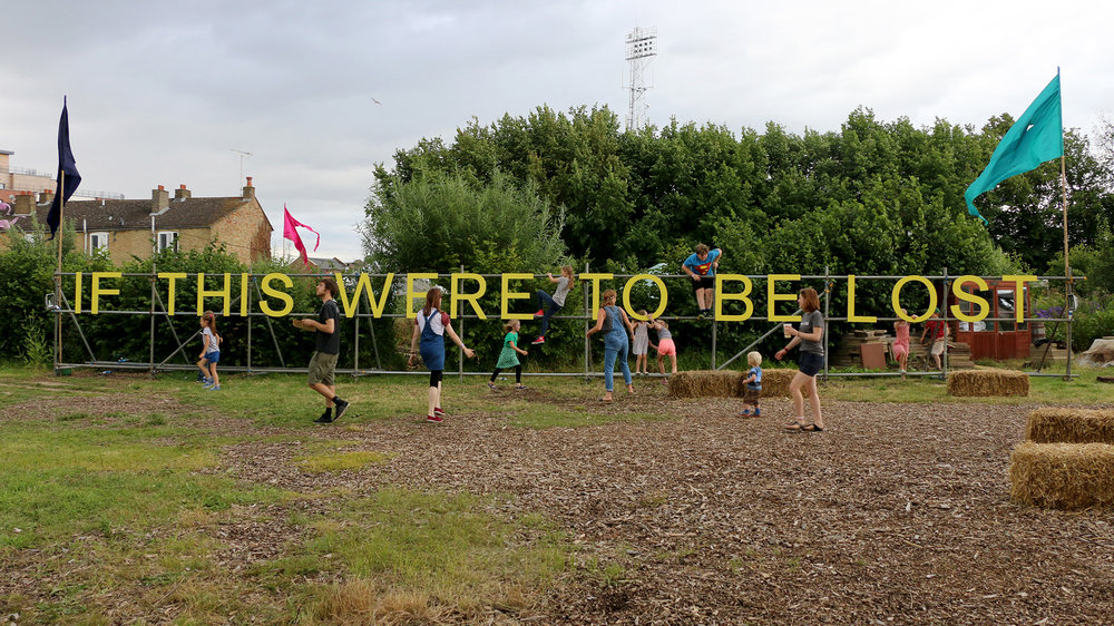 5_Jessie+Brennan_If+This+Were+to+Be+Lost_2016_painted+birch+plywood+on+scaffold_1-9+x+19m_situated+at+The+Green+Backyard_Peterborough_Photograph+by+Jessie+Brennan